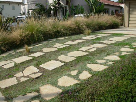 Broken concrete rebuilt as permeable driveway