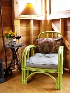 A cozy armchair creates a reading nook