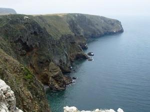 A view down the rocky coast of Santa Cruz Island