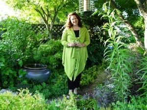 Debra in green, on the path