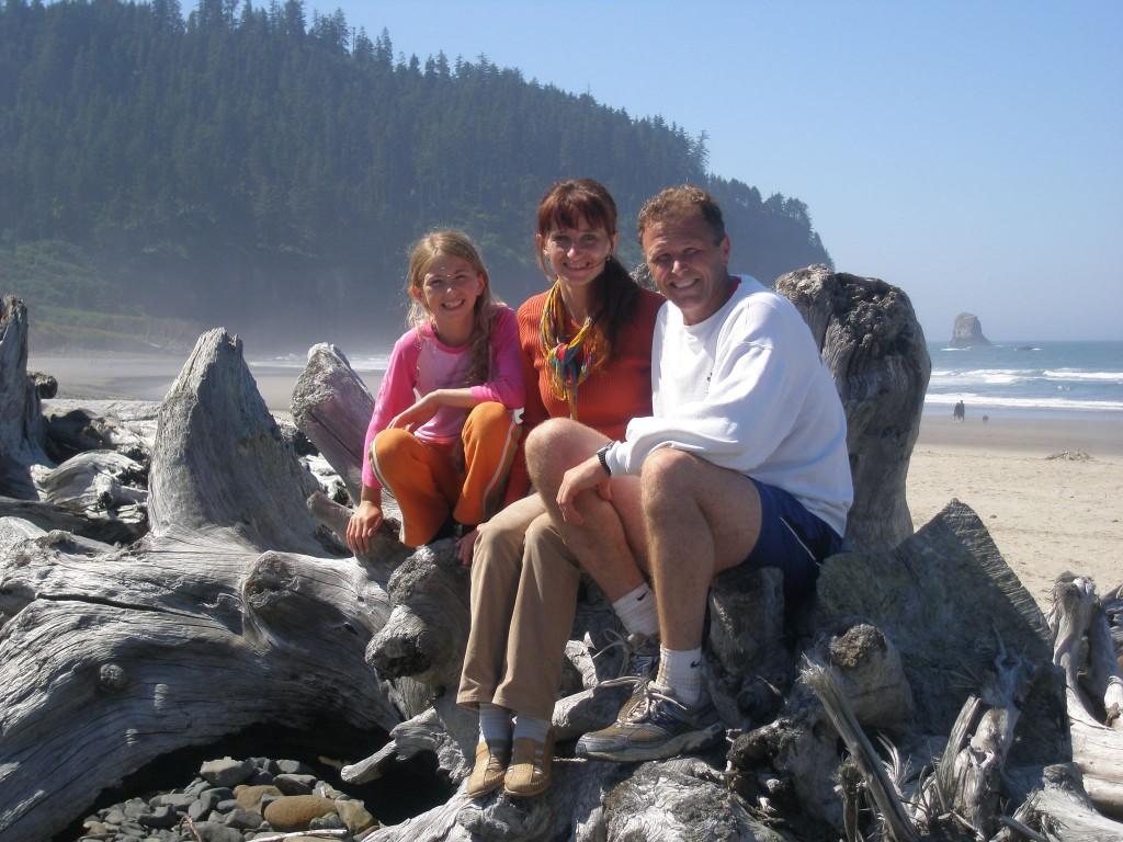 The Zweifel Family enjoys the nearby Oregon Coast, From left, daughter Nina, and Monika and Patrick Zweifel.