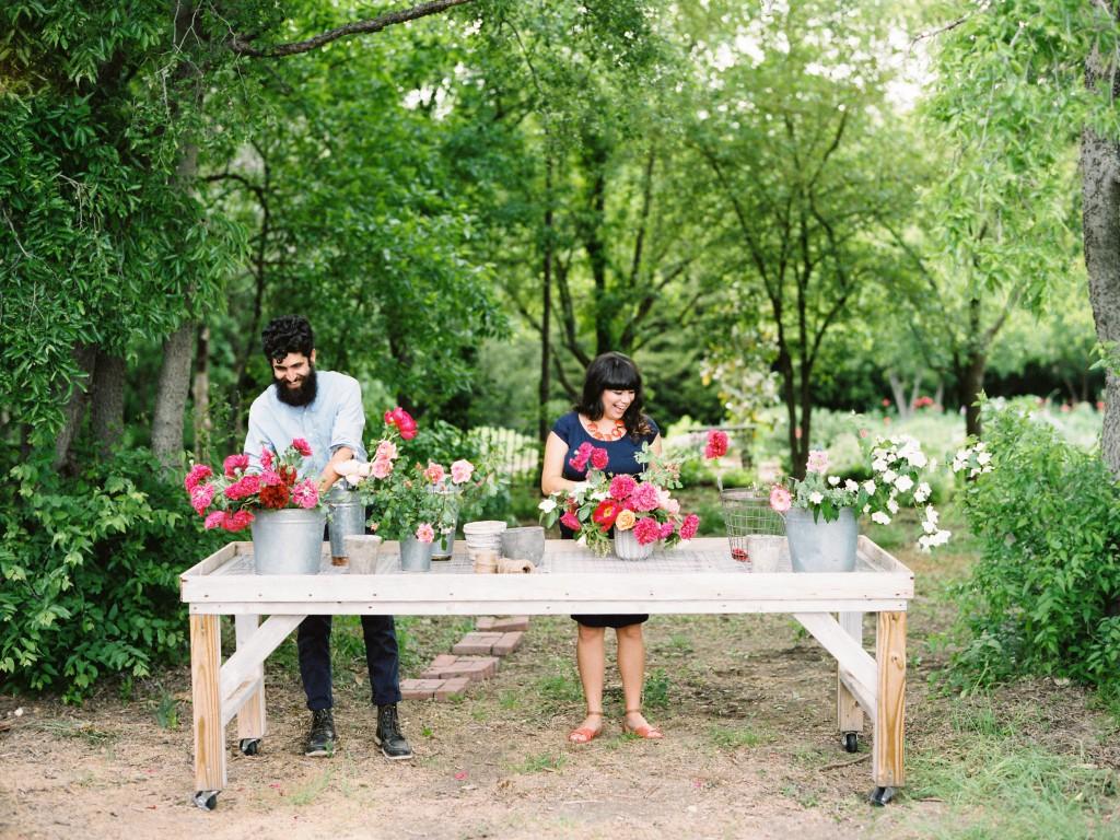 Adam and Alicia, flower arranging at Cynthia Alexander's Quarry Flower Farm in Frisco, Texas (c) Ryan Ray