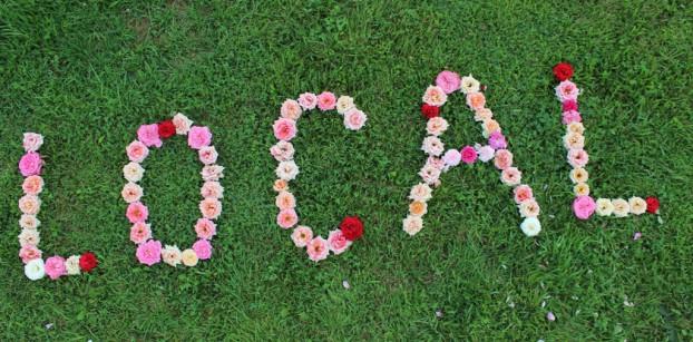 L-O-CA-L in an array of David Austin roses