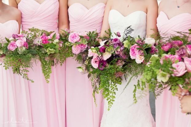 Bouquets for a pink-and-mauve floral palette (c) Alante Photography