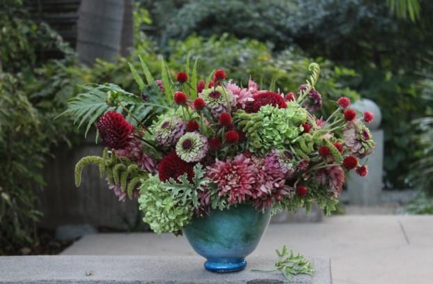 Mums, zinnias, dahlias, gomphrena, amaranth, scented geranium -- all from Washington. I added a few goodies from my friend Cheryl's backyard in Altadena, California (including tree fern fronds and limelight hydrangeas)